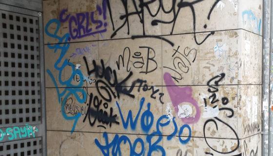 Graffiti Removal using Soda Blasting (Before)