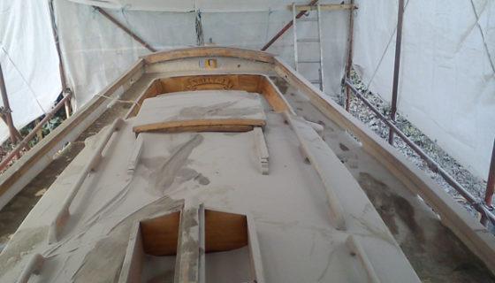 Boat Cleaning using Soda Blasting