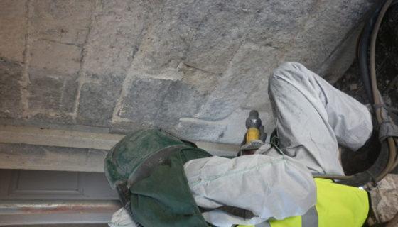 Limestone Cleaning using Soda Blasting
